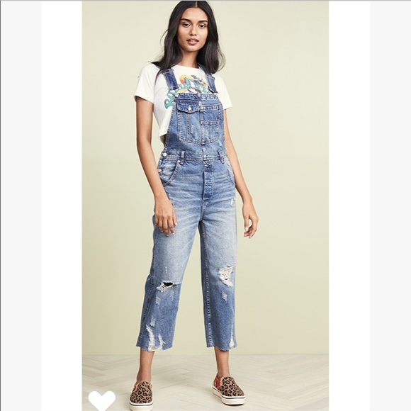 NEW Free People WE THE FREE Flare Overalls Size 0 XS S Denim Jeans Jumpsuit